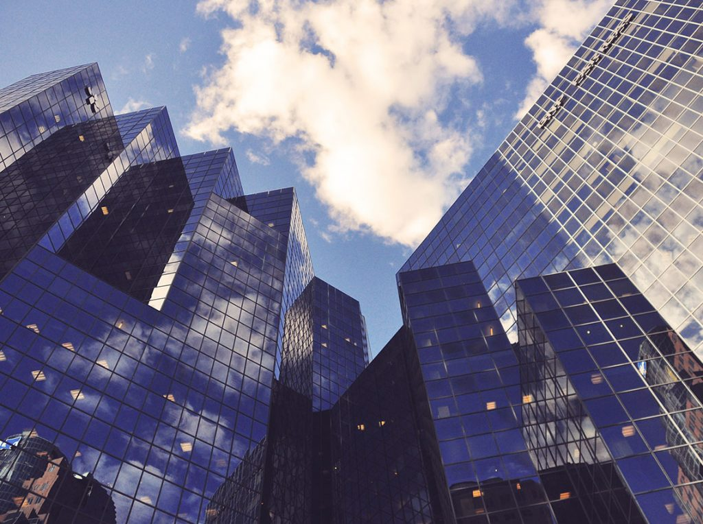 view of high rise office buildings from the ground